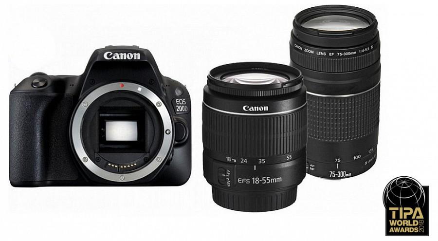 Canon EOS 200D kit (18-55mm f 3.5-5.6 III + 75-300mm f 4-5.6 III) (fekete) 03839801f34