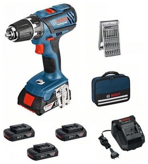 f014450850f2d Bosch GSR 18-2-LI Plus Professional Aku vŕtací skrutkovač (+ 3 batéria +  brašna + bitkészlet) (06019E6101) - 220volt.sk